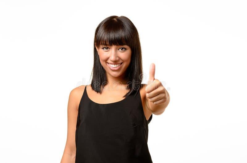 Het enthousiaste gemotiveerde vrouw geven duimen omhoog royalty-vrije stock foto's