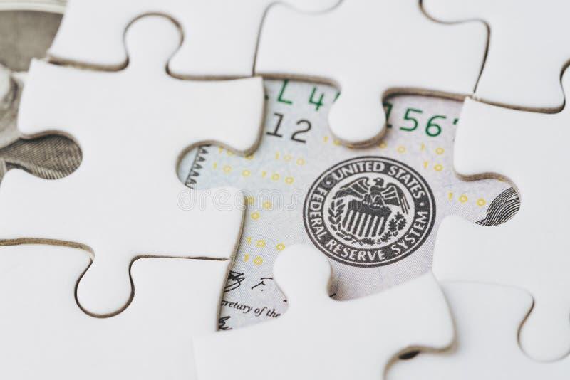 Het EOF-de strategie van financiële rentevoetstijging, de Verenigde Staten van Amerika of economieconcept, figuurzaag of raadsel  stock afbeeldingen