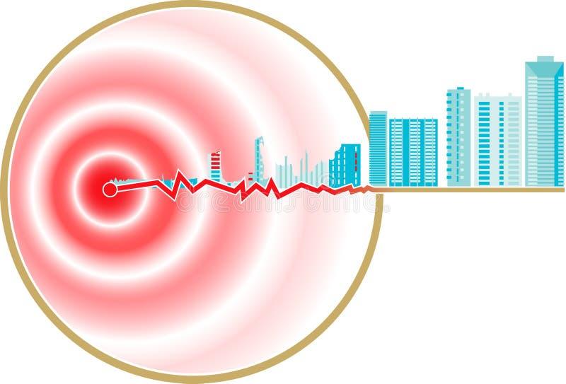 Het Epicentrum van de aardbeving royalty-vrije illustratie