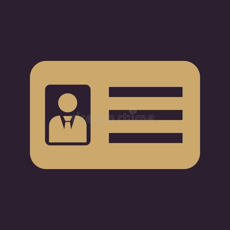 Het erkenningspictogram Toelating en kenteken, identificatie, pas, het symbool van de bestuurdersvergunning vlak royalty-vrije illustratie