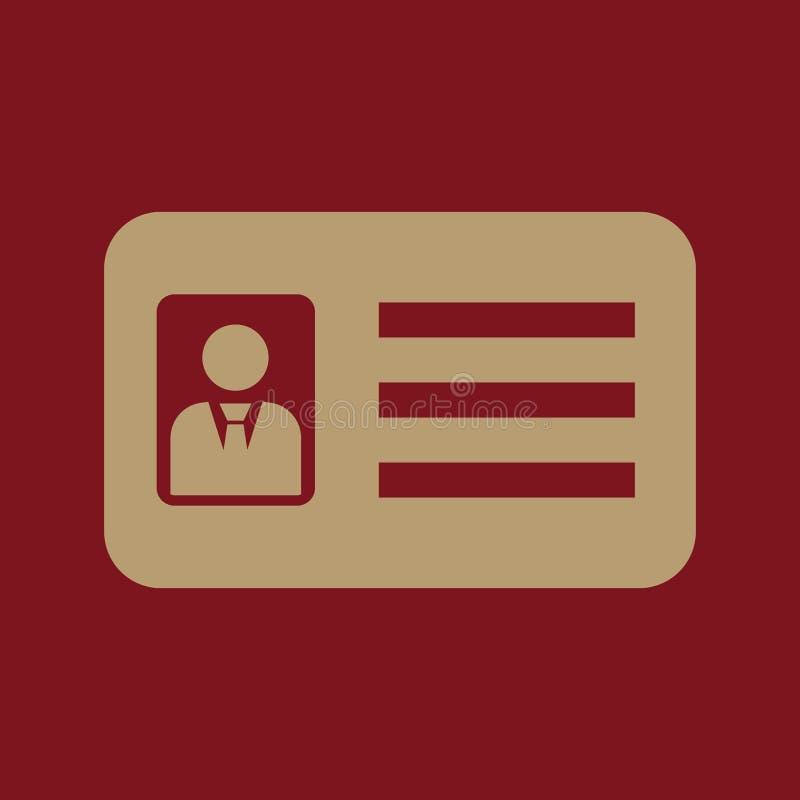 Het erkenningspictogram Toelating en kenteken, identificatie, pas, het symbool van de bestuurdersvergunning vlak stock illustratie
