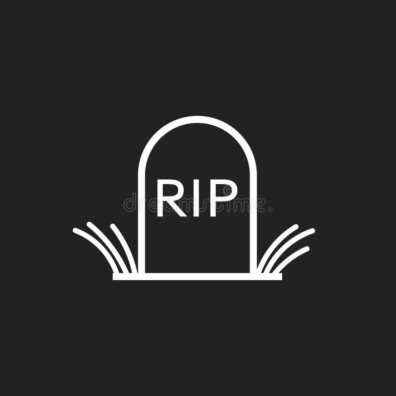 Het ernstige pictogram van Halloween in lijnstijl Grafzerk vectorillustratie Scheur grafsteen vlak pictogram royalty-vrije illustratie