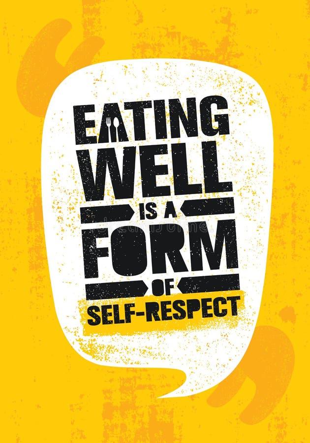 Het eten goed is een Vorm van Zelfrespect Gezond verlies het Citaat van de de Voedingsmotivatie van de Gewichtslevensstijl Inspir vector illustratie