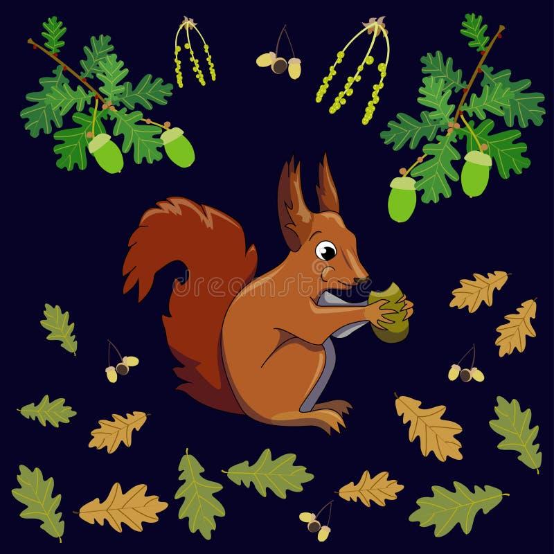 Het eten van de eekhoorn stock illustratie