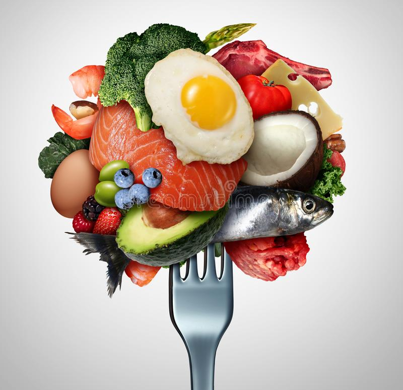 Het eten van Ketogenic Voedsel royalty-vrije illustratie