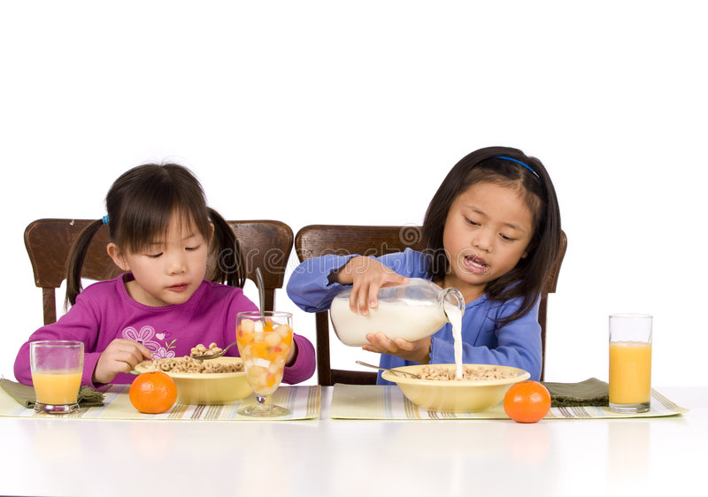 Het eten van Ontbijt stock afbeeldingen