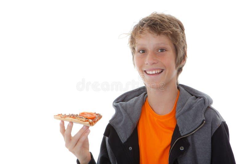Het eten van pizza royalty-vrije stock afbeelding
