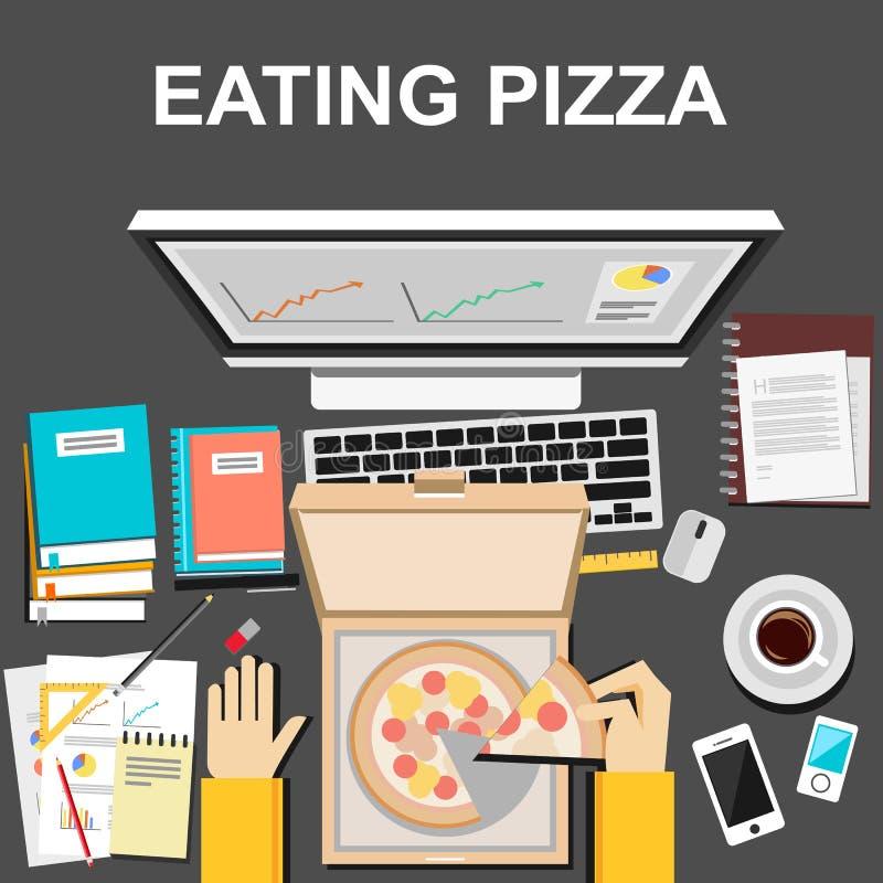 Het eten van pizza wanneer het werken van of het bestuderen van illustratieconcept Vlak Ontwerp stock illustratie