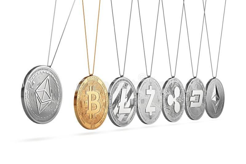 Het Ethereummuntstuk op de wieg van Newton ` s voert en versnelt andere cryptocurrencies op en afwisselend stock illustratie