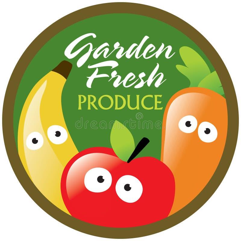 Het etiket/de sticker van de Verse Opbrengst van de tuin stock illustratie