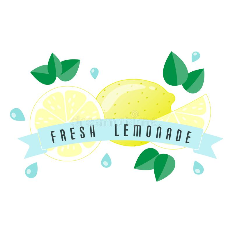 Het etiket en de banner van het citroenfruit - Verse Limonade vector illustratie