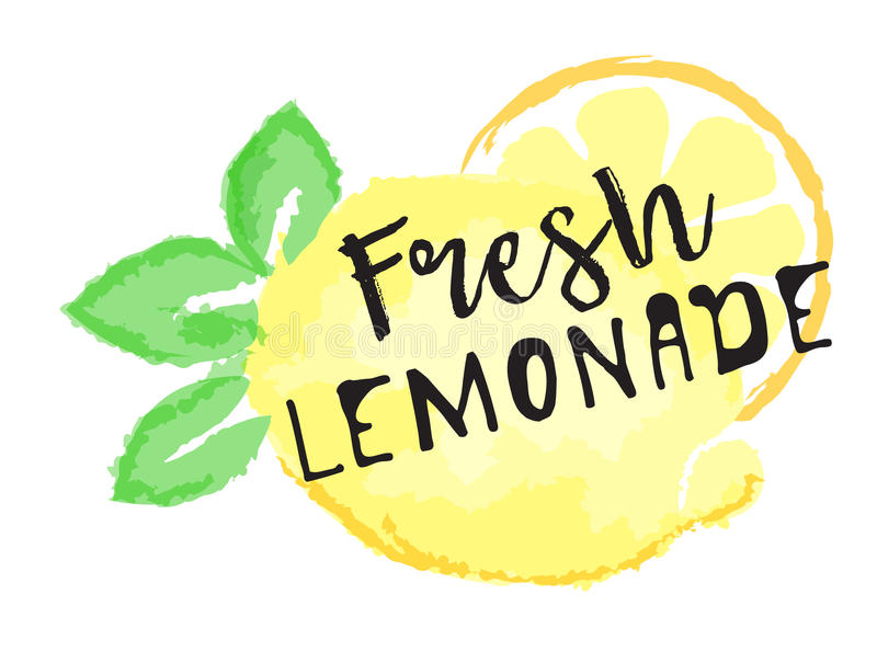 Het etiket en de sticker van het citroenfruit - Verse Limonade vector illustratie