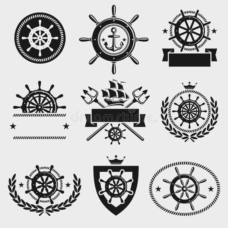 Het etiket en het elementenreeks van het schipstuurwiel Vector royalty-vrije illustratie