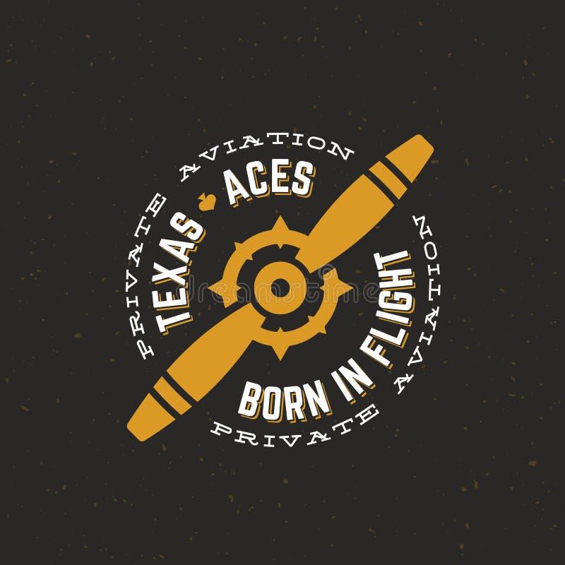 Het Etiket, het Teken of Logo Template van Texas Aces Airplane Vector Retro Uitstekende Vliegtuigpropellor met Cirkeltypografie e vector illustratie