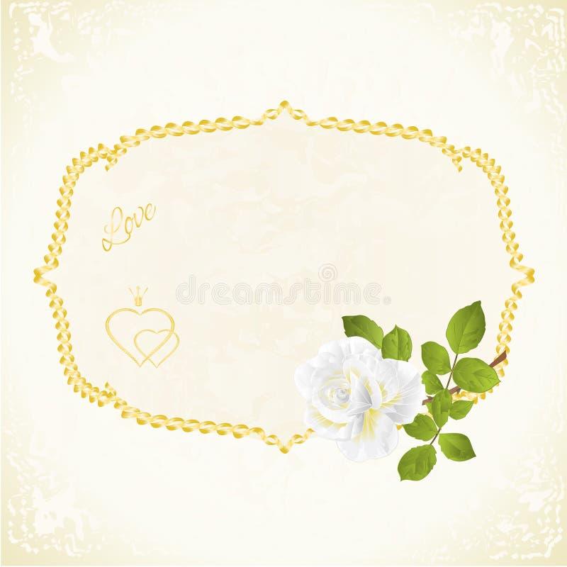 Het etiket met wit nam bloemen feestelijke uitstekende vector editable illustratie als achtergrond toe stock illustratie