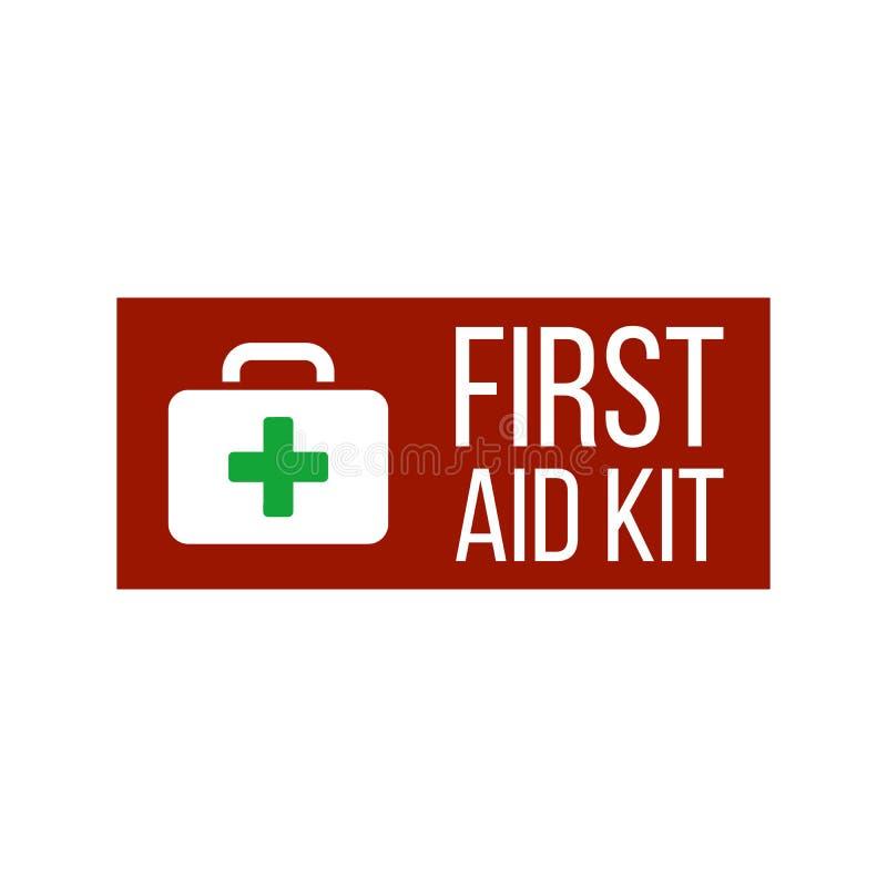 Het etiket of het teken van de eerste hulpuitrusting Medische doos met kruis Medische apparatuur voor noodsituatie Het concept va vector illustratie