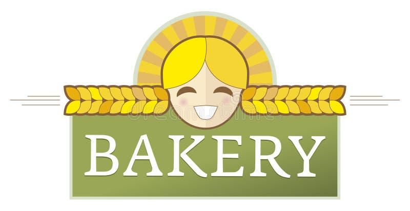 Het Etiket Van De Bakkerij Met Meisje Stock Afbeeldingen
