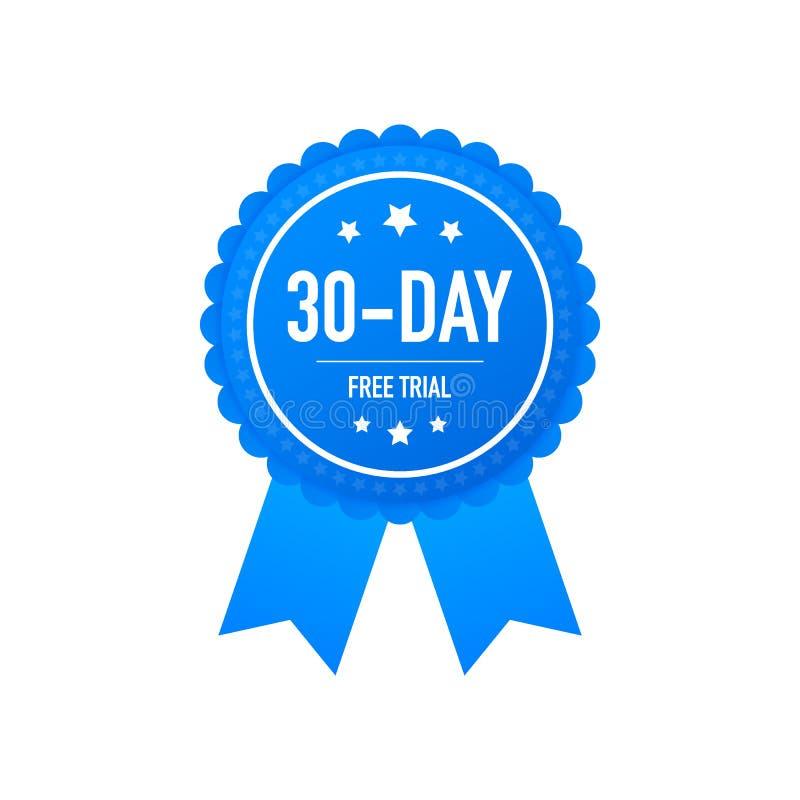 het etiket van de 30 dagengratis versie, kenteken, sticker Softwarebevorderingen voor vrije downloads Het kan voor toepassing wor royalty-vrije illustratie