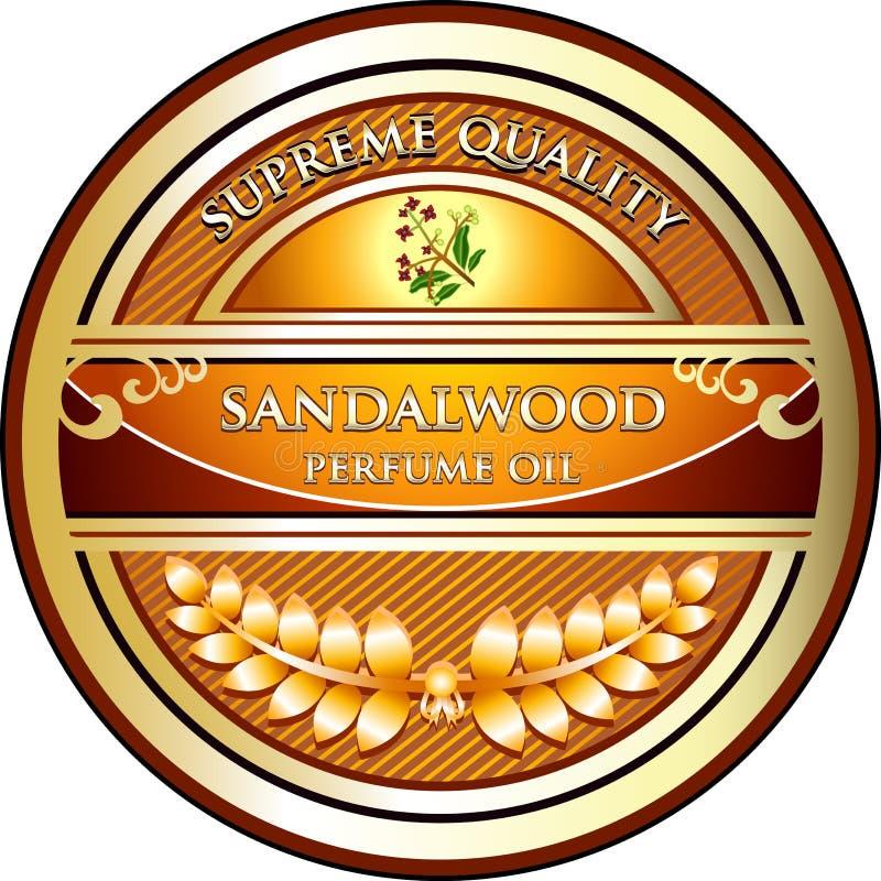 Het Etiket van het de Etherische olieproduct van sandelhoutaromatherapy vector illustratie