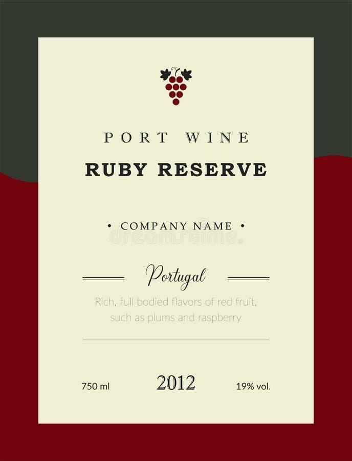 Het etiket van de havenwijn De vectorreeks van het premiemalplaatje Schoon en modern ontwerp Ruby Reserve en Rode wijn Het nation stock illustratie