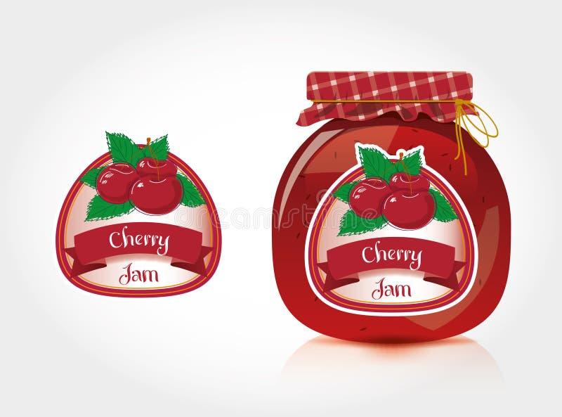 Het etiket van de kersenjam met kruik stock illustratie