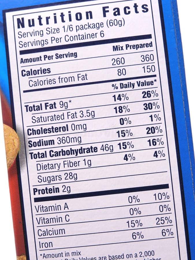 Het etiket van de voeding op blauw stock foto's