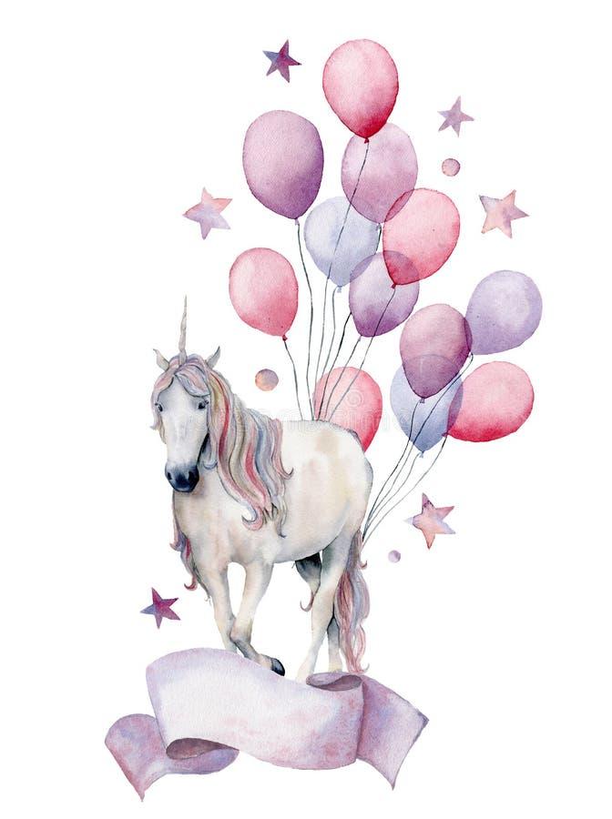 Het etiket van de waterverffantasie met eenhoorn en luchtimpulsen De hand schilderde wit die paard, luchtballons, sterren op wit  royalty-vrije illustratie
