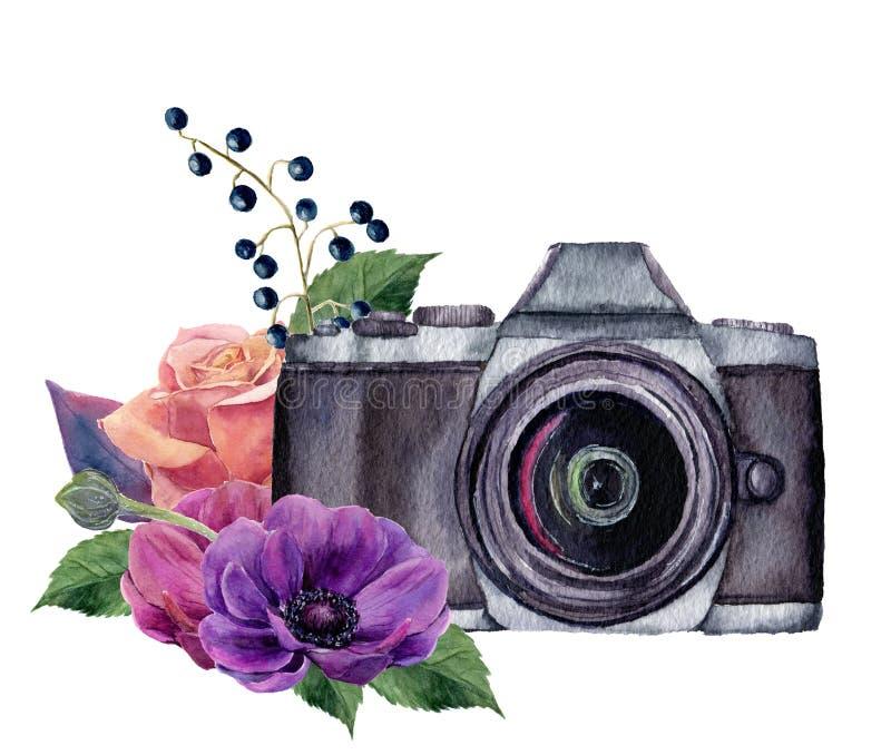 Het etiket van de waterverffoto met bloemen Hand getrokken fotocamera met roze, bessen, anemonen en bladeren geïsoleerd op wit vector illustratie