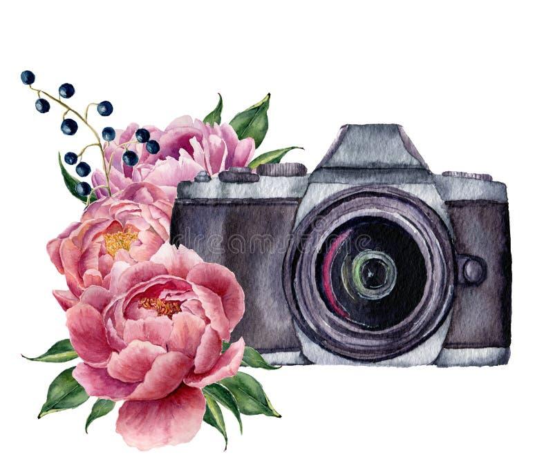 Het etiket van de waterverffoto met pioenbloemen Hand getrokken die fotocamera met pioenen, bessen en bladeren op wit worden geïs vector illustratie