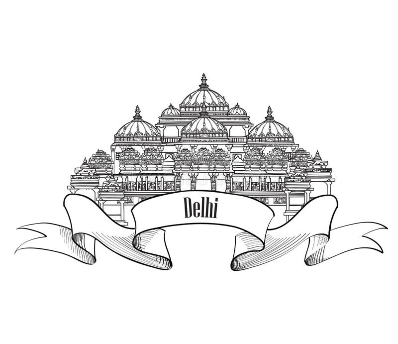 Het etiket van Delhi Architecural Indisch Oriëntatiepuntsymbool Akshardham, Delhi vector illustratie