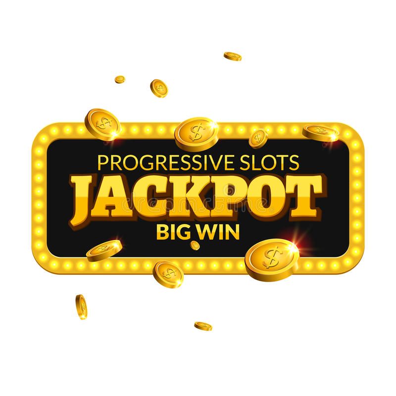 Het etiket van het achtergrond potcasino teken Van het de muntstukkengeld van de casinopot van de de winnaartekst het glanzende d stock illustratie