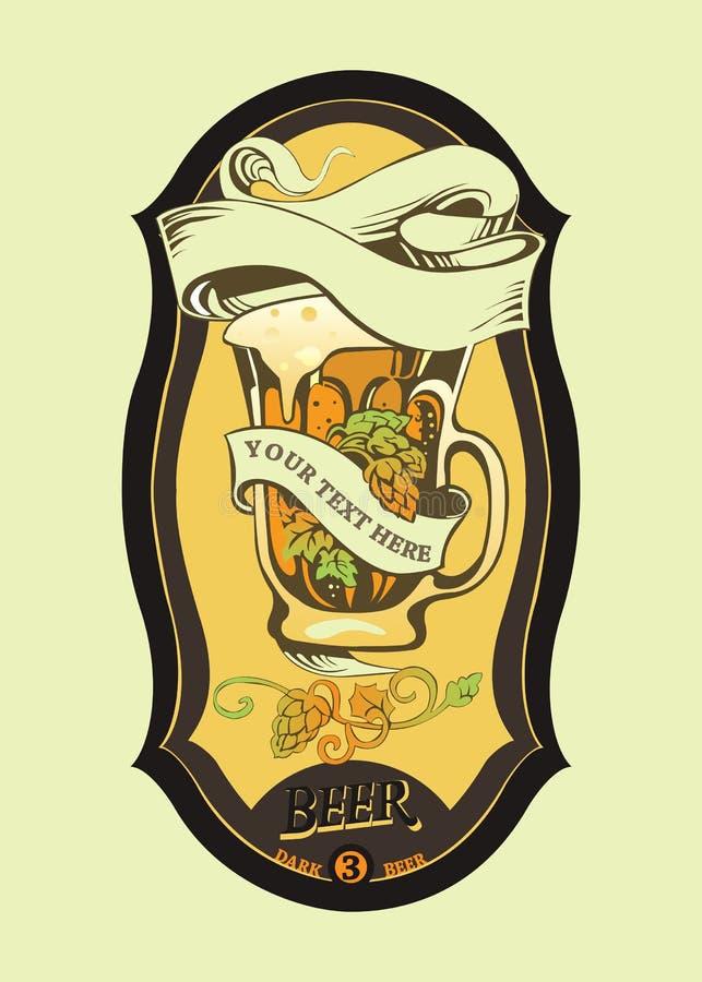 Het etiket van het bier met mok royalty-vrije illustratie