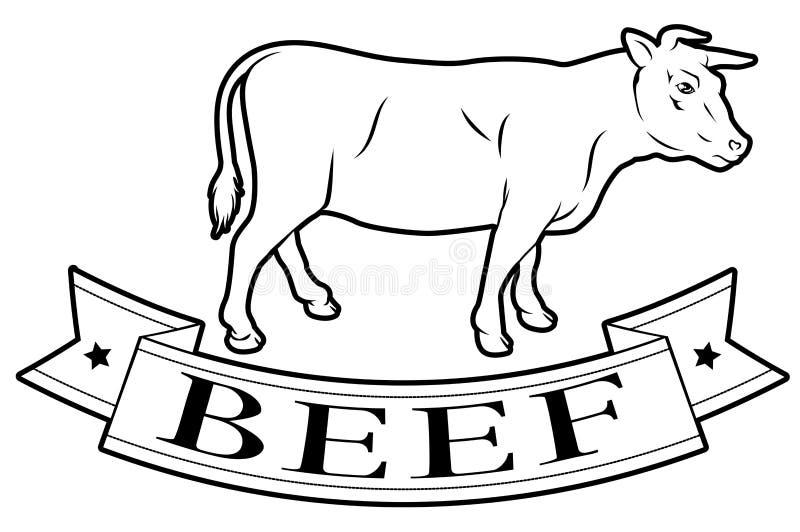 Het etiket van het rundvleesvoedsel royalty-vrije illustratie