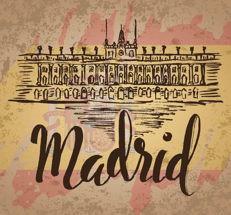 Het etiket van Madrid met hand getrokken Royal Palace van Madrid, van letters voorziend Madrid en Spaanse vlag vector illustratie