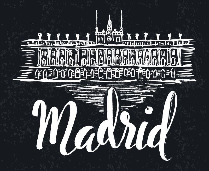 Het etiket van Madrid met hand getrokken Royal Palace van Madrid, van letters voorziend Madrid op een donkere achtergrond royalty-vrije illustratie