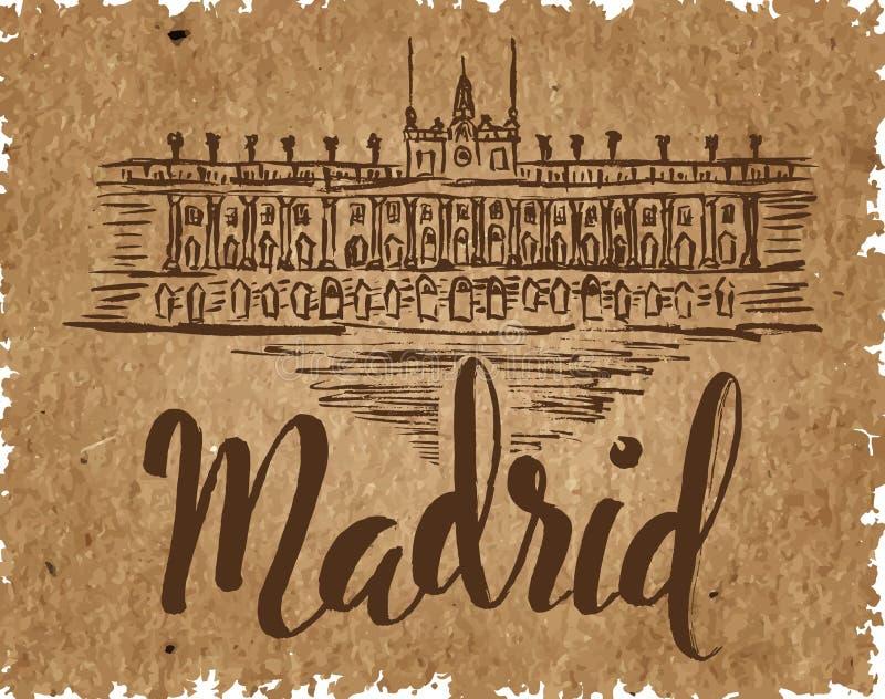 Het etiket van Madrid met hand getrokken Royal Palace van Madrid, van letters voorziend Madrid op een kraftpapier-document, die v stock illustratie