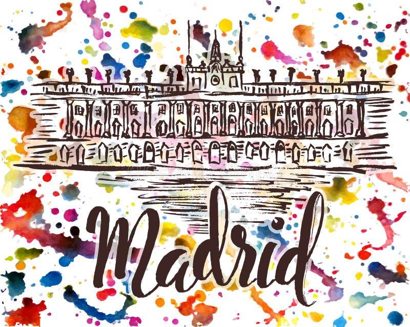 Het etiket van Madrid met hand getrokken Royal Palace van Madrid, van letters voorziend Madrid op multicolored waterverfachtergro vector illustratie