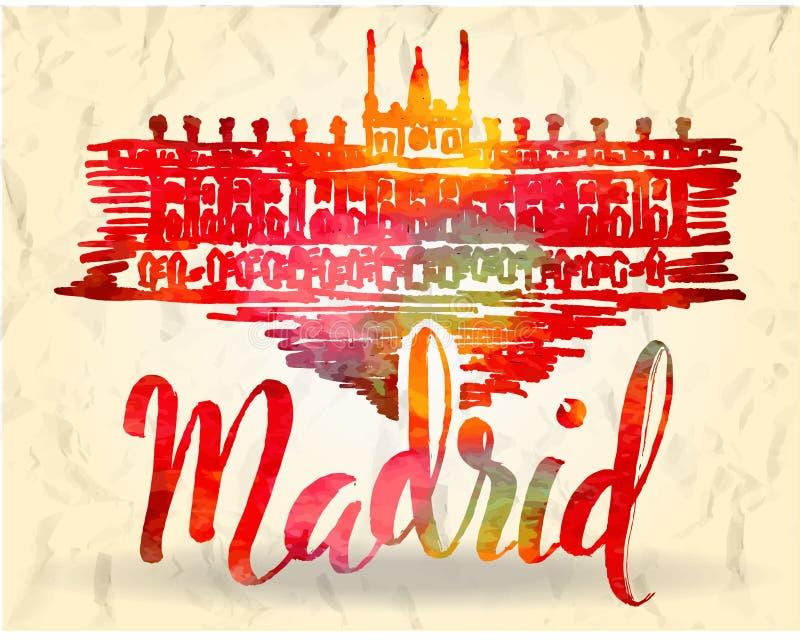 Het etiket van Madrid met hand getrokken Royal Palace van Madrid, van letters voorziend Madrid met waterverf vult stock illustratie