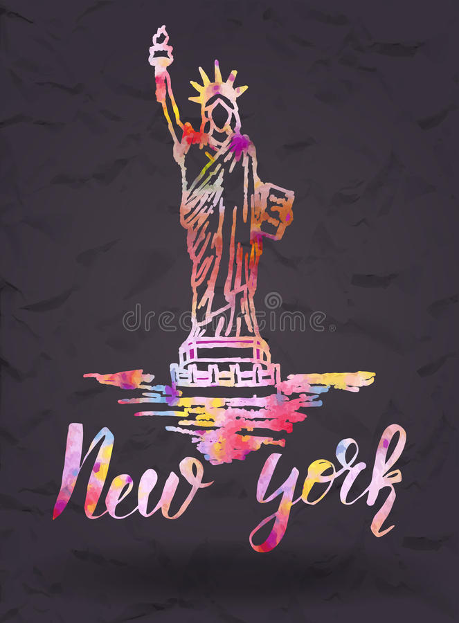 Het etiket van New York met hand getrokken het Standbeeld van Vrijheid, van letters voorziend New York met waterverf vult vector illustratie