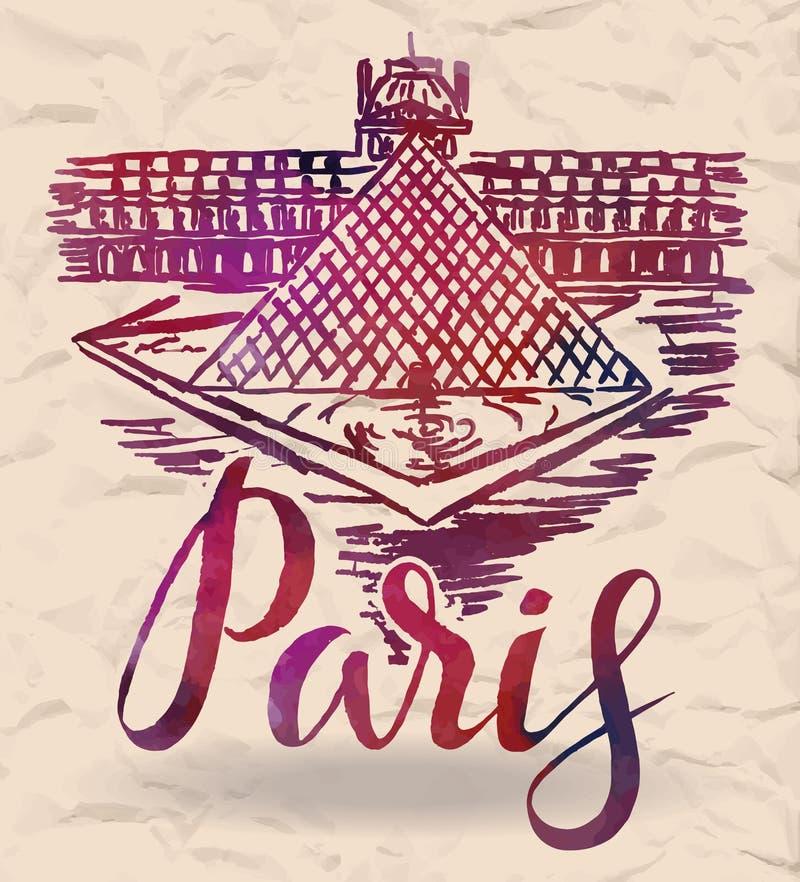 Het etiket van Parijs met hand getrokken het Louvre, van letters voorziend Parijs met waterverf vult royalty-vrije illustratie