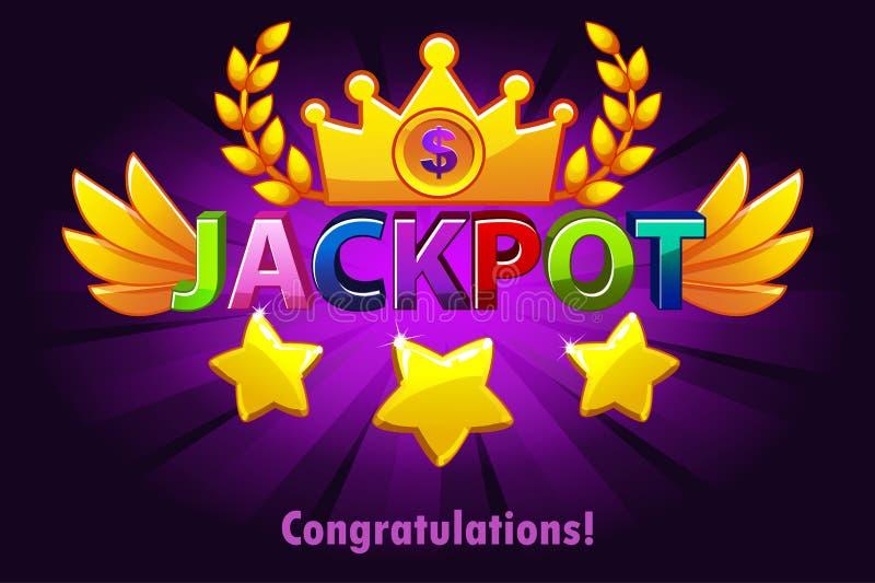 Het etiket van het potcasino met vallende sterren op violette achtergrond De winnaartoekenning van de casinopot met gekleurde tek stock illustratie