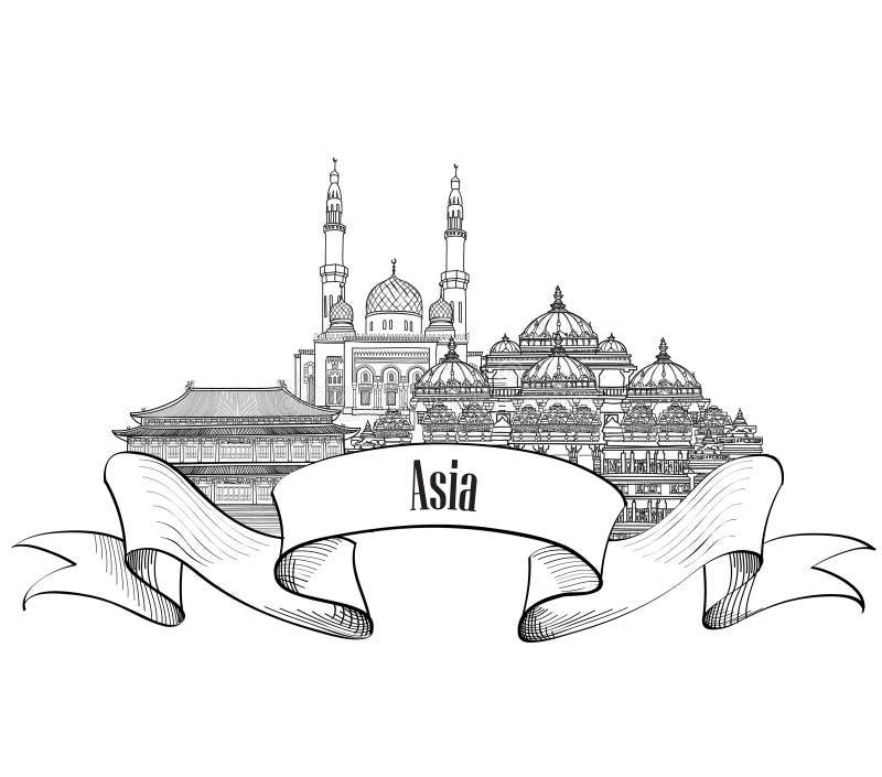Het etiket van reisazië Beroemde gebouwen en oriëntatiepunten Aziatisch kapitaal stock illustratie