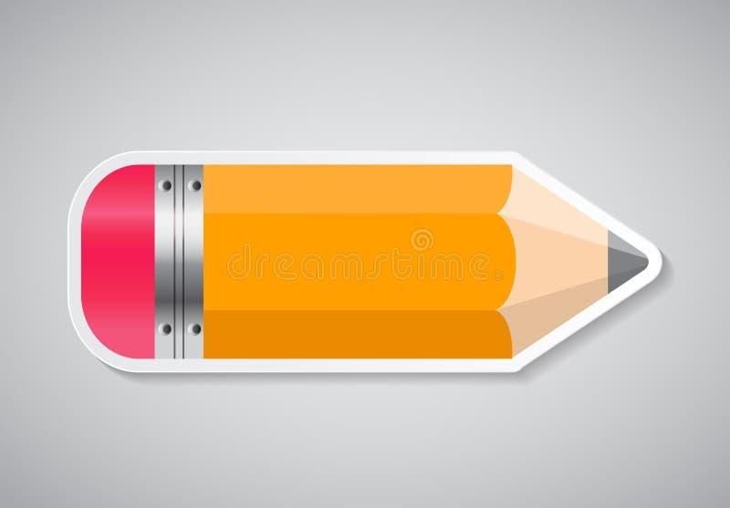 Het Etiket Vectorillustratie van de potloodsticker vector illustratie