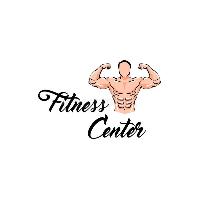 Het etiketembleem van het geschiktheidscentrum Het Model van de bodybuildergeschiktheid, Mens met spieren Vector stock illustratie