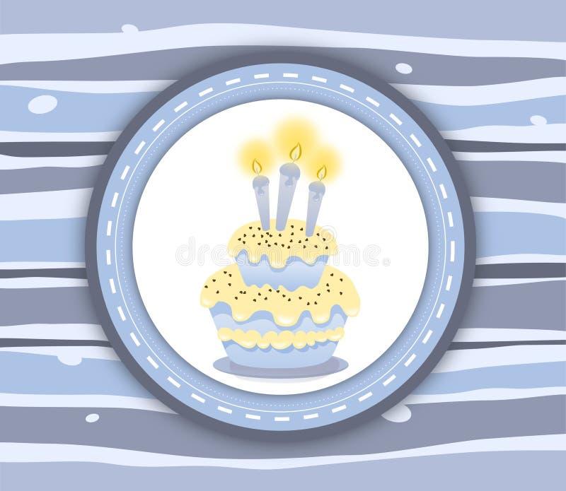 Het etiketkaart van de verjaardagscake - stripey blauwe achtergrond vector illustratie