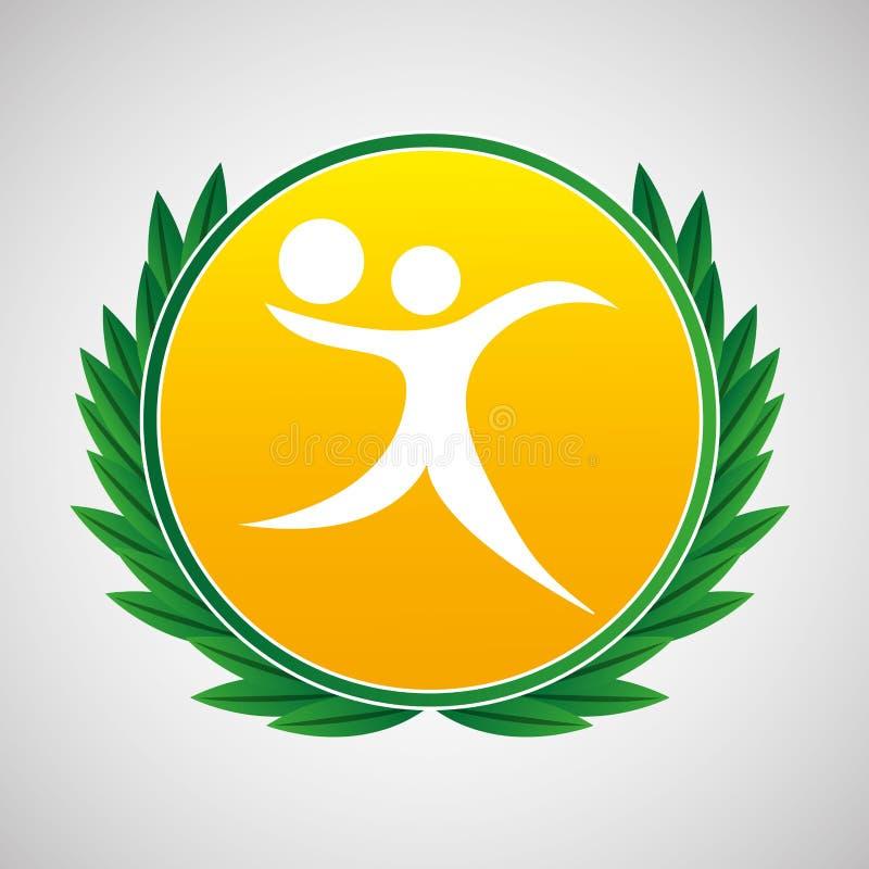 Het etiketlauwerkransen van het volleyballsymbool stock illustratie