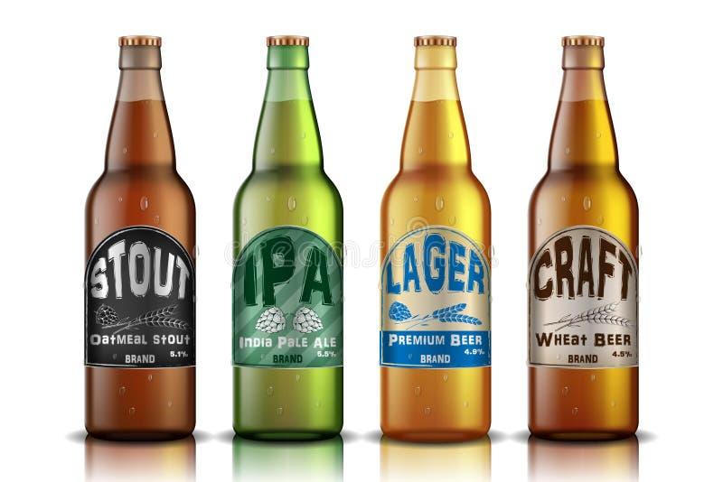 Het Etiketontwerp van het ambachtbier bier in glasfles, met hop en gouden rijpe tarweadvertentie Vector 3d illustratie royalty-vrije illustratie