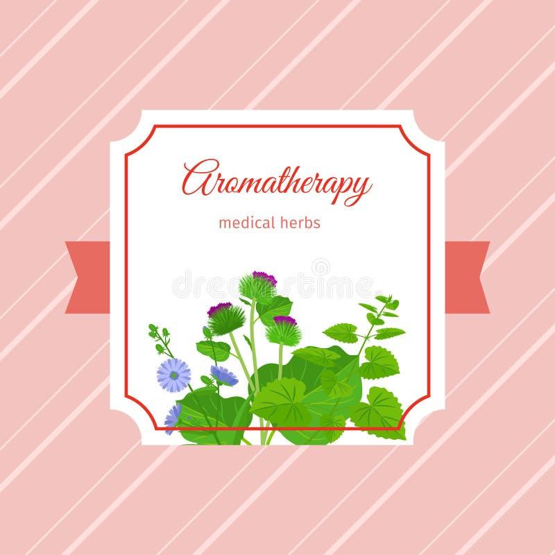 Het etiketontwerp van Aromatherapy medisch kruiden vector illustratie