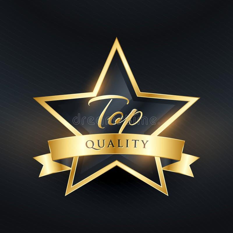 Het etiketontwerp van de hoogste kwaliteitsluxe met gouden lint vector illustratie