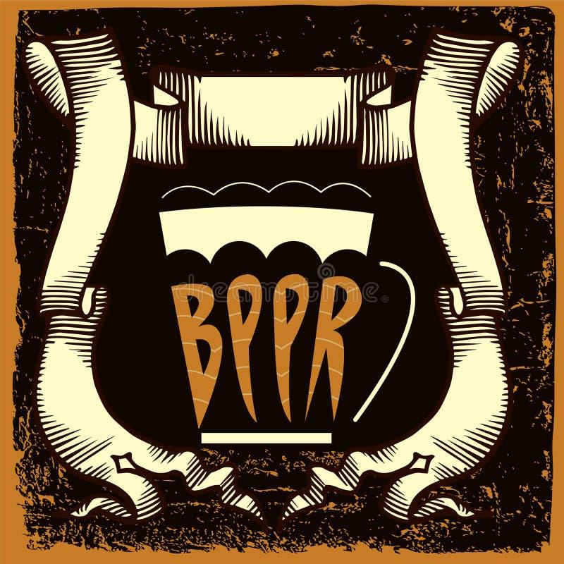 Het etiketontwerp van het bier stock illustratie